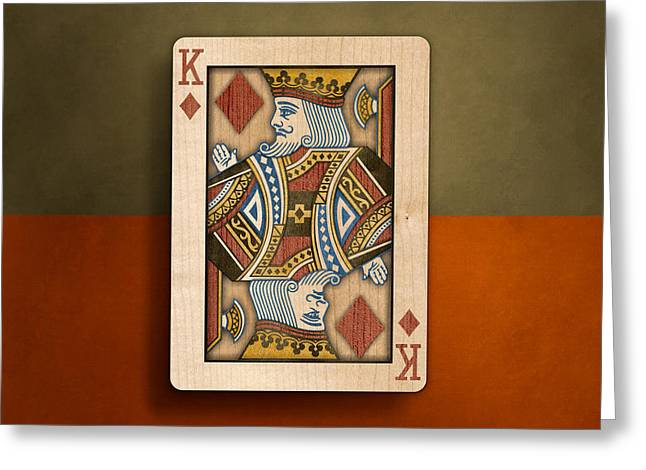 King Of Diamonds In Wood Greeting Card by YoPedro