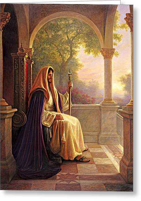 Greeting Card featuring the painting King Of Kings by Greg Olsen