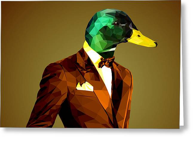 Geometric Mallard Duck Greeting Card by Gallini Design