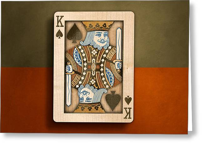 King Of Spades In Wood Greeting Card by YoPedro