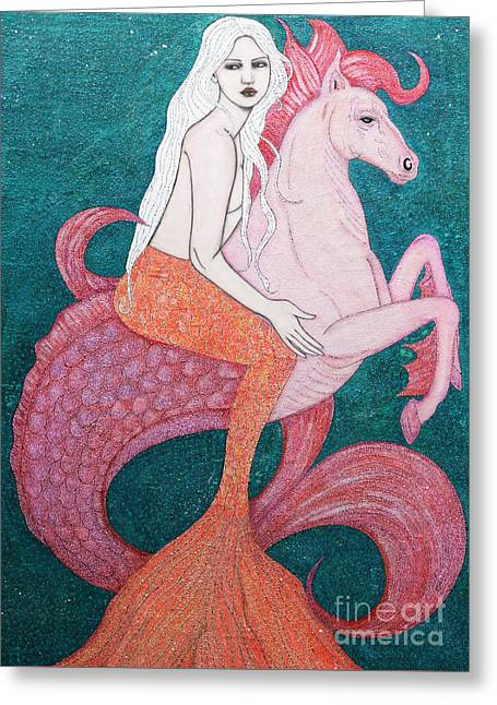 Greeting Card featuring the mixed media King Of The Sea by Natalie Briney