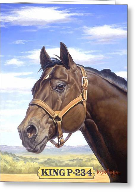 Quarter Horses Paintings Greeting Cards - King P234 Greeting Card by Howard Dubois