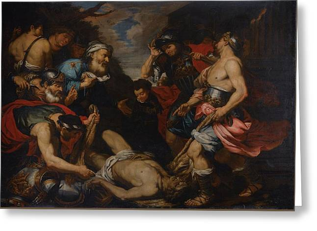 King Priam Retrieving The Body Of His Son Hector Greeting Card