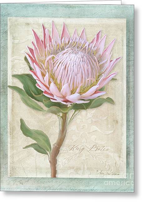 Greeting Card featuring the painting King Protea Blossom - Vintage Style Botanical Floral 1 by Audrey Jeanne Roberts