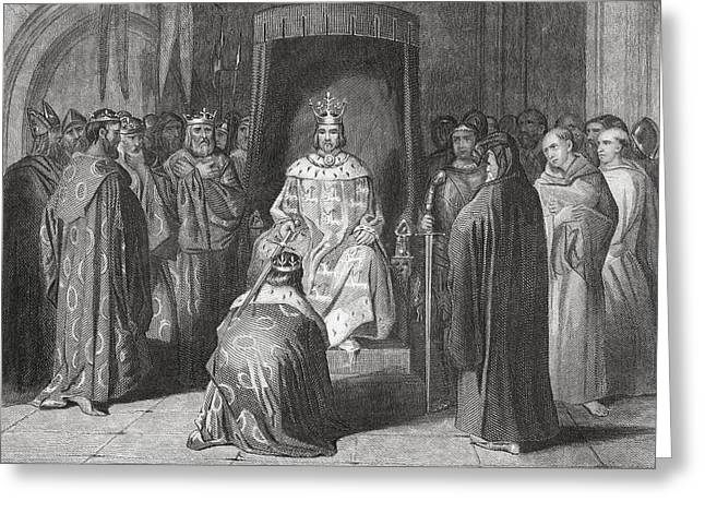 King Richard II Knighting The Kings Of Greeting Card by Vintage Design Pics
