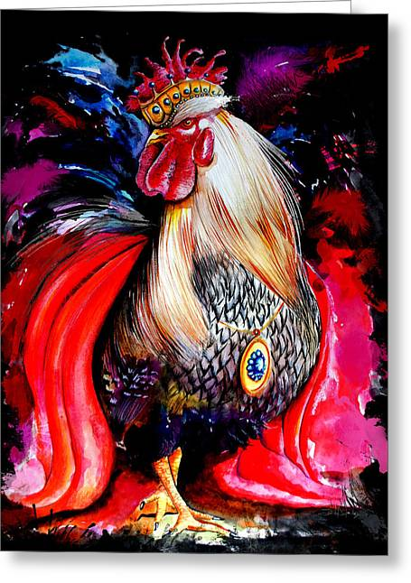 King Rooster Greeting Card by Isabel Salvador