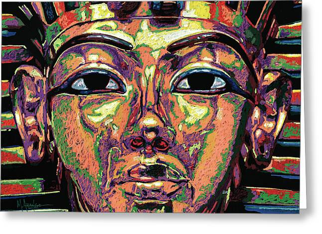 King Tutankhamun Death Mask Greeting Card by Maria Arango