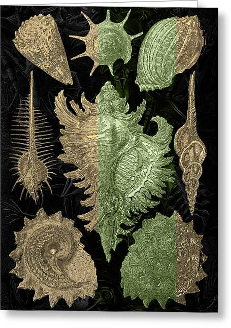 Greeting Card featuring the digital art Kingdom Of Golden Seashells by Serge Averbukh