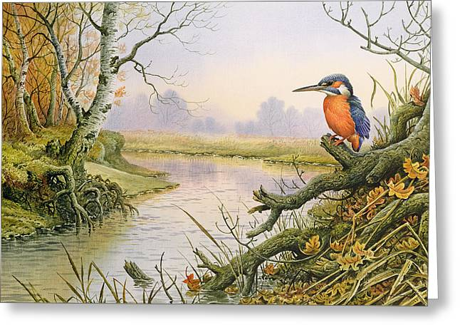 Kingfisher  Autumn River Scene Greeting Card by Carl Donner