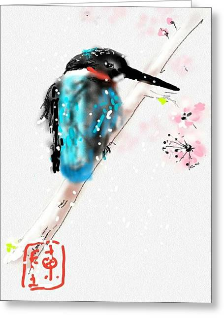 Kingfisher In Late Spring Snow Greeting Card