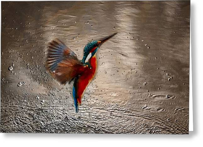 Greeting Card featuring the painting Kingfisher by Mark Taylor