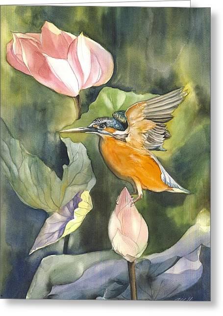 Kingfisher With Lotus Greeting Card