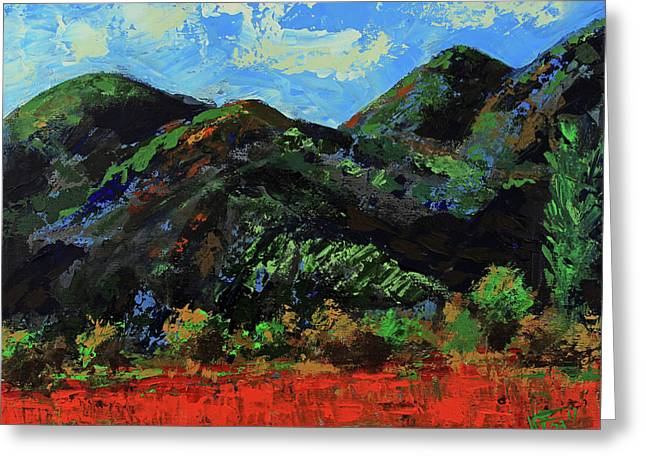 Greeting Card featuring the painting Kings Canyon Fall Colors by Walter Fahmy