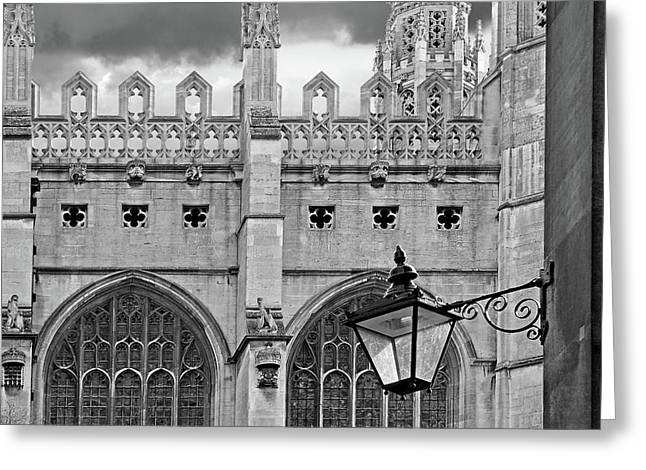Kings College Chapel Cambridge Exterior Detail Greeting Card by Gill Billington