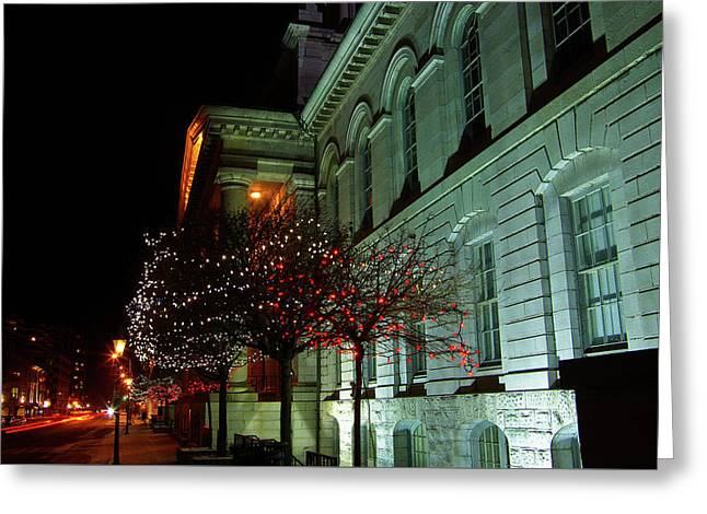 Kingston City Hall In Lights Greeting Card by Paul Wash