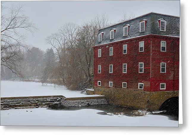 Greeting Card featuring the photograph Kingston Mill In Winter Storm by Steven Richman