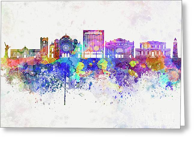 Kingston Skyline In Watercolor Background Greeting Card by Pablo Romero