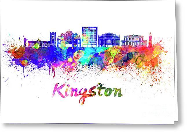 Kingston Skyline In Watercolor Greeting Card by Pablo Romero