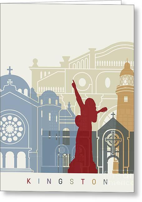 Kingston Skyline Poster Greeting Card by Pablo Romero