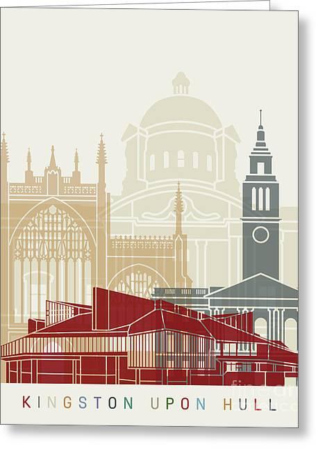 Kingston Upon Hull Skyline Poster Greeting Card