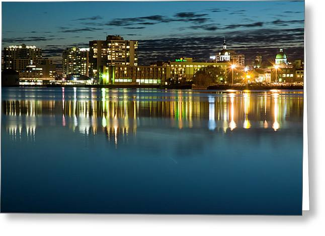 Kingston Waterfront At Night Greeting Card