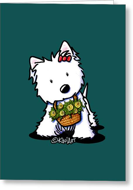 Kiniart Flower Basket Westie Greeting Card