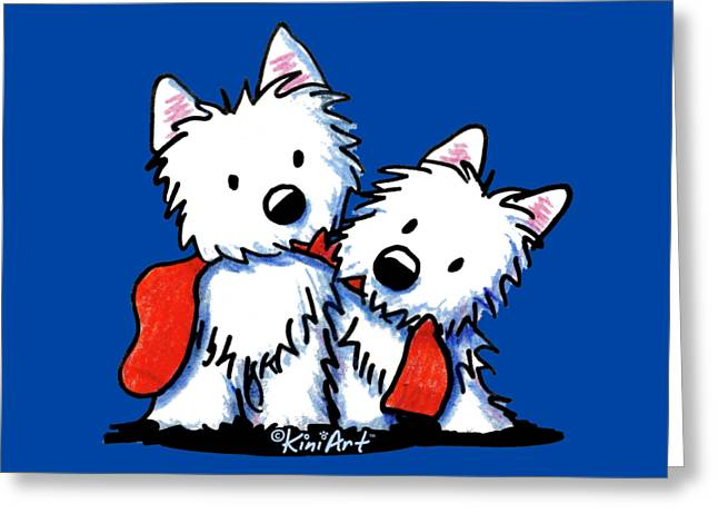 Kiniart Red Sock Westies Greeting Card