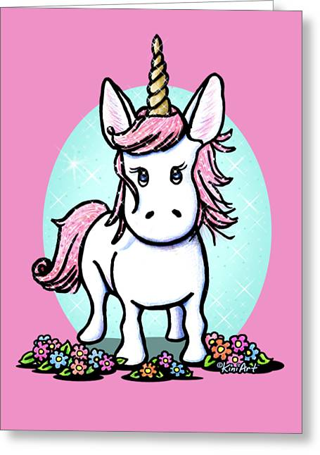 Kiniart Unicorn Sparkle Greeting Card by Kim Niles