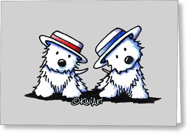 Kiniart Westie Dancing Duo Greeting Card