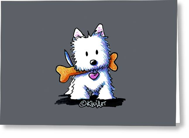 Kiniart Westie With Bone Greeting Card
