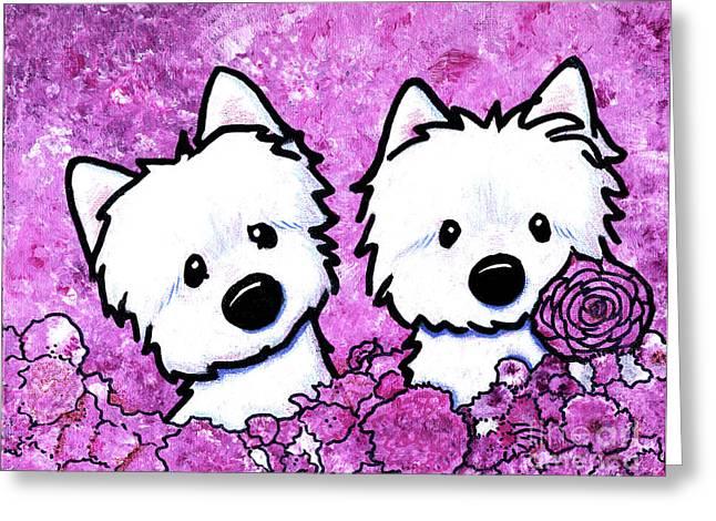 Kiniart Westies In Flowers Greeting Card by Kim Niles