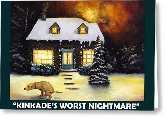 Kinkade's Worst Nightmare With Lettering Greeting Card by Leah Saulnier The Painting Maniac