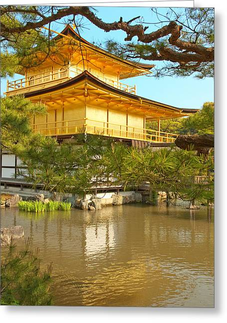Kinkakuji Golden Pavilion Kyoto Greeting Card by Sebastian Musial