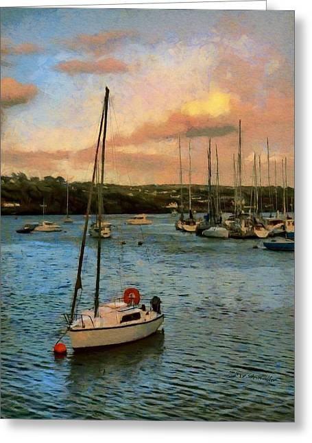 Greeting Card featuring the painting Kinsale Harbour Evening by Jeff Kolker