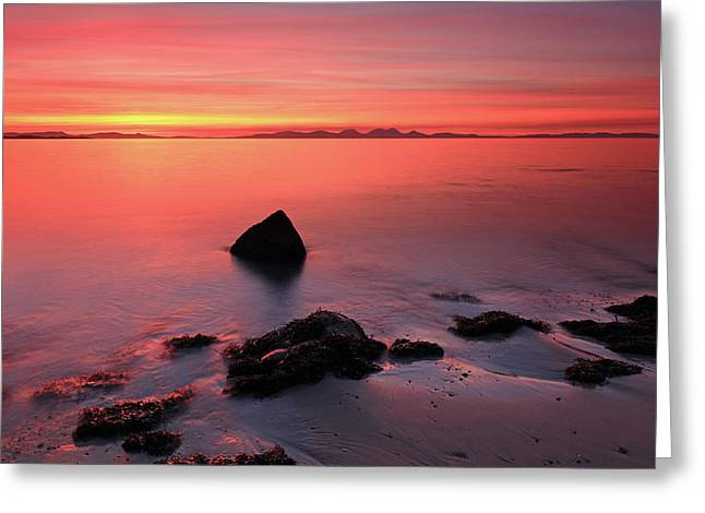 Greeting Card featuring the photograph Kintyre Rocky Sunset 2 by Grant Glendinning
