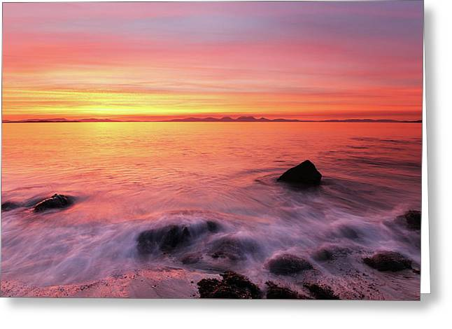 Greeting Card featuring the photograph Kintyre Rocky Sunset 3 by Grant Glendinning
