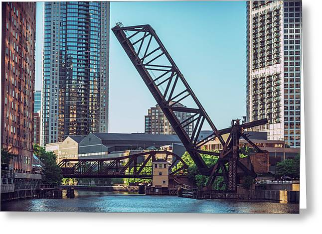 Kinzie Bridge And Rail Bridge Greeting Card