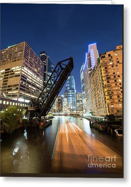 Kinzie Bridge In Chicago Greeting Card