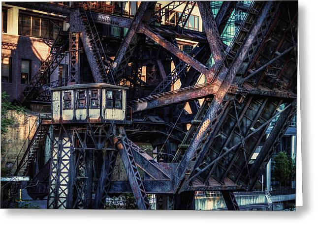 Kinzie Rail Bridge Detail Greeting Card