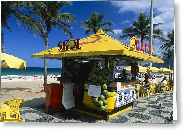 Ethnic Food Greeting Cards - Kiosk on Ipanema Beach Greeting Card by George Oze