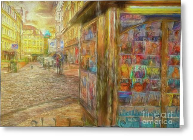 Kiosk - Prague Street Scene Greeting Card
