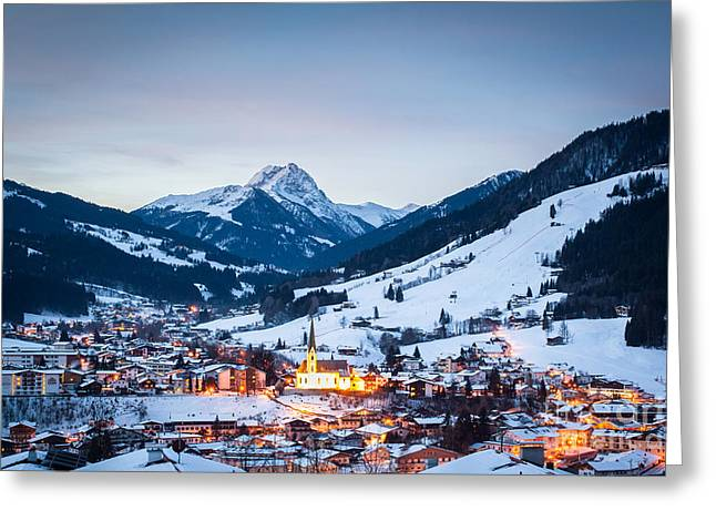 Kirchberg Austria In The Evening Greeting Card