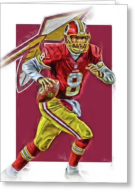 Kirk Cousins Washington Redskins Oil Art Greeting Card
