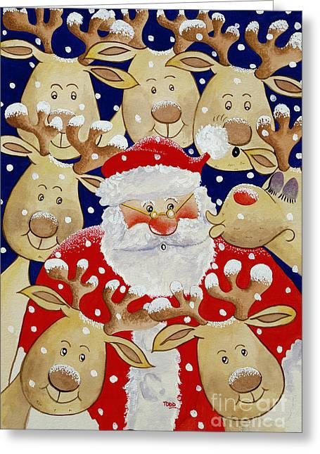 Kiss For Santa Greeting Card by Tony Todd