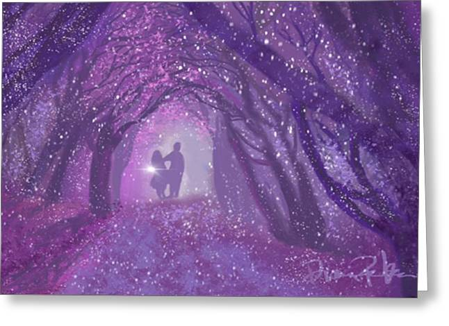 Kiss In The Woods Greeting Card by Diana Riukas