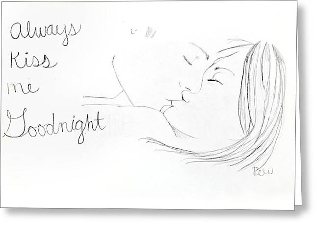 Greeting Card featuring the drawing Kiss Me Goodnight by Rebecca Wood