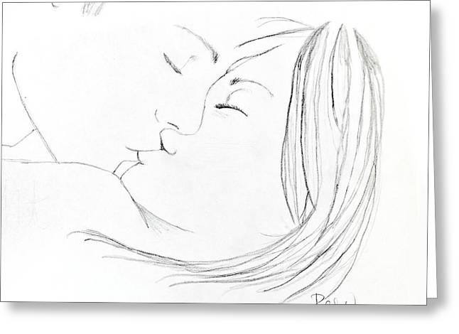 Greeting Card featuring the drawing Kiss Me Goodnight Without Quote by Rebecca Wood