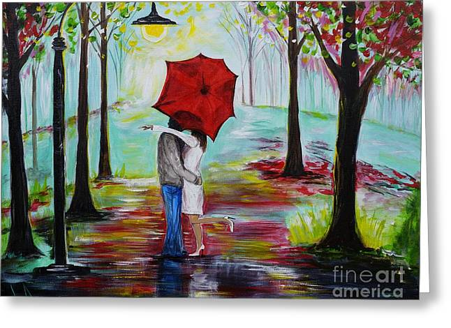 Kiss Me In The Rain Greeting Card by Leslie Allen