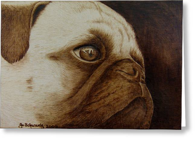 Puppies Pyrography Greeting Cards - Kiss Me Greeting Card by Jo Schwartz