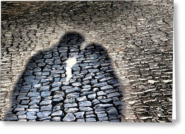 Kiss Me On The Cobblestone Greeting Card